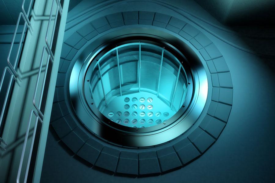 Mesure optique du niveau d'eau dans les piscines des réacteurs nucléaires