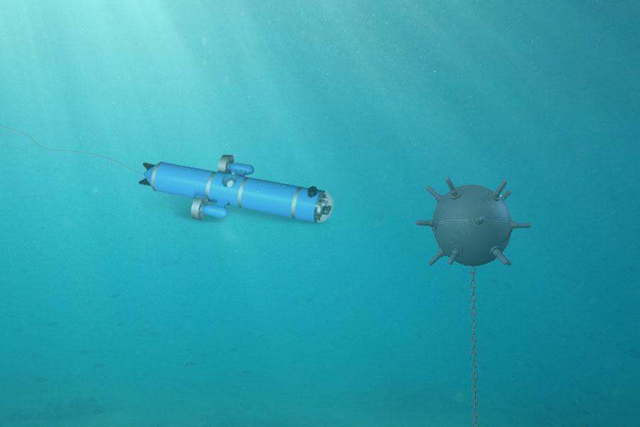 Lutte anti-mines avec des robots sous-marins filoguidés