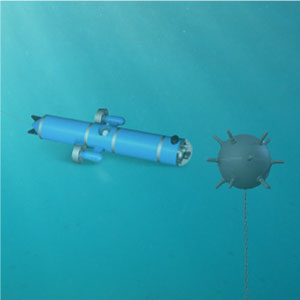 Mine action with underwater wire-guided robots